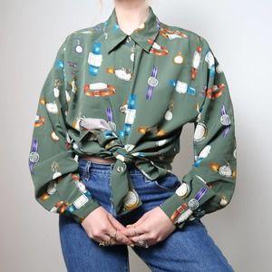 Vintage 90's green clock print blouse